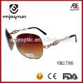Óculos de sol de moda de metal polarizado de cor marrom