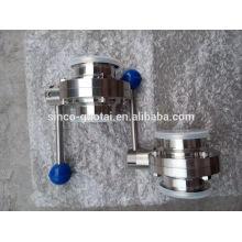 Válvula de mariposa sanitaria del acero inoxidable SS304 316 para la comida