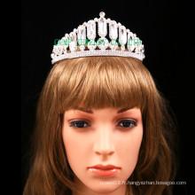 Tiaras de cristal de couronne nuptiale à rayures big strass pour femmes