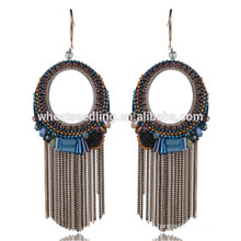 low moq retro export tassel thread crystal stone jewellery ring shaped earrings