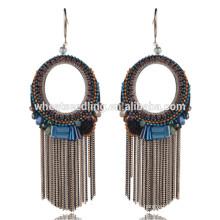 Baixo moq retro borla exportação thread cristal jóia de pedra anel em forma de brincos