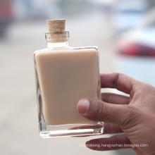 Fashion Ins Wooden Cork Milk Tea Bottle Coffee Juice Glass Bottle Glass Beverage Bottle