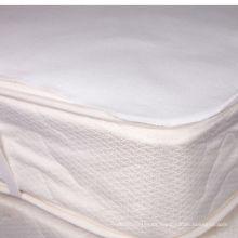 colchoneta impermeable blanca plana de la franela de algodón con el elástico