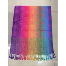 MODE 2016 Nouvelle couleur arc-en-ciel Jaquard design viscose Hijab Tudung Echarpe musulmane