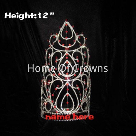 12in Height Big Tall Pageant Crowns With Red Diamonds