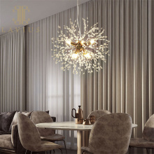 Round Gold Brass Chandelier Led for Living Room