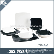JX20-1AB 20pcs porcelain square dinner set, white and black dinner set, small dinner set