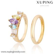 12857-Xuping elegante jóias de ouro casal anel configurações com CZ