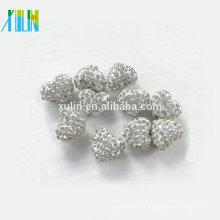 grânulos de coração de strass jóias pingente de colar contas pave