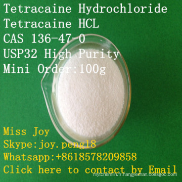 Chlorhydrate de tétracaïne de chlorhydrate de tétracaïne de haute pureté de tétracaïne d'USP tétracaïne CAS 136-47-0 soulagement de douleur d'anesthésique local d'api anesthésique