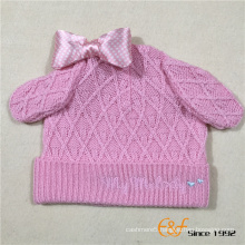 Lovely Ears and Bowknot Design Knitted Hat for Girls
