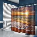 Sea Wave wasserdicht Duschvorhang Strand Sonnenuntergang Badezimmer Dekor Duschvorhang mit Haken