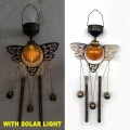 Glaskugel Solar beleuchtete Gartendekoration Metall Libelle Windchime Handwerk