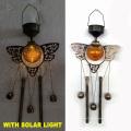 Solar Decoración Jardín Iluminado Bronce Final Metal Búho Windbell Artesanía