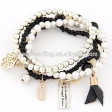 2014 hecho a mano multicapa encantos perlas pulsera de perlas