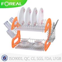 2-Tiers Metal Wire Dish Drainer with Cutlery and Mug Storage