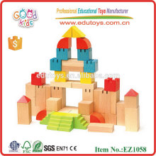 EZ1058 EN71 approved creative beech wood Castle Toy Wooden Blocks Set