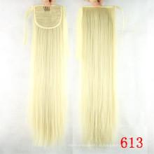 Preço barato por atacado virgem remy cabelo humano cordão rabo de cavalo branco mulheres cabelo humano rabo de cavalo