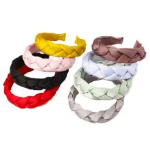 Bandeau Opaska New Vintage Satin Braid Sponge Headband Solid Fabric Hairband for Women Girl Fashion Hair Accessories Dropshipping Wholesale