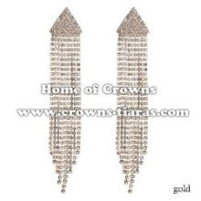 Rhinestone Triangle Earrings With Dangle Long Rhinestones