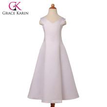 Grace Karin V-Neck White Satin Long Flower Girls Dresses With Gig Bowknot CL4835