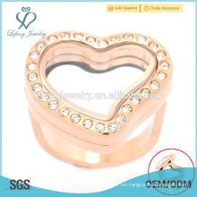 Oro rosa diseño corazón forma Anillos de joyería de acero inoxidable para las mujeres, joyería de cristal de oro anillos