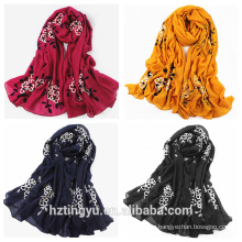 New design whosale women hijab embroidered polyester scarf
