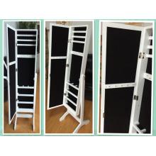 White standing mirror jewelry storage with jewelry storage