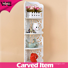 White Bathroom Corner Storage Plastic Stacking Wall Shelf