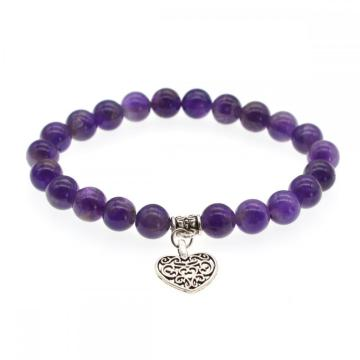 Natural Amethyst Chakra Gemstone 8MM Round Beads Charms Bracelet with Heart Alloy
