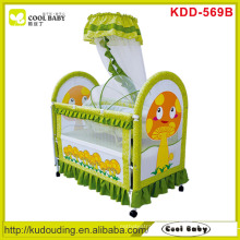 Yellow Mushroom On side, NEW Baby Crib Green Color with Inner cradle and mosquito net