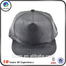 Plain Black Leather Snapback Caps