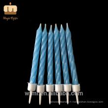 Partie de classe mondiale Pur cire de paraffine mélangé couleur spirale Twist bougies en gros
