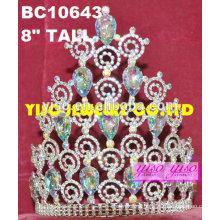 Elegante tiaras de cumpleaños de moda para adultos ab tiaras de cristal