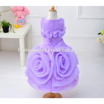 Nouvelle mode bébé fille 3D fille fleur robe 2017 vente chaude coloré nouveau modèle fille robe pour le mariage et la fête