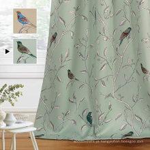 Cortinas estampadas rústicas de pássaros para a sala de estar