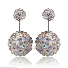 Rhinestone Ear Studs Double Ball AB Crystal Earrings Shamballa