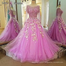 LS00101 sequin beading purple long evening gown with long sleeve lace ball gown prom dress