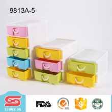 Family practical colorful 5-tier plastic drawer for desktop supplies