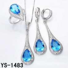 Imitation Jewelry Luxury 925 Silver Jewelry Set with Big Ocean Blue Zircon.