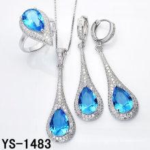 Имитация ювелирные изделия 925 Серебряный комплект ювелирных изделий с большой океан голубой циркон.
