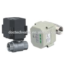 1/2 '' 2 fils commander 2 way12VDC inox Mini électrique robinet à boisseau sphérique DN15 motorisé Ball Valve For Water Treatment