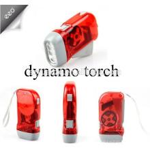 Mão de imprensa dinamo 3 lanterna led / lanterna recarregável de luz / mão manivela