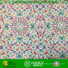 Multi-Color Butterfly Pattern Printed Chiffon Poly Fabric for Dress