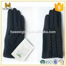 New Design Ladies Fashion Black Winter Warm Woolen Knitted Gloves