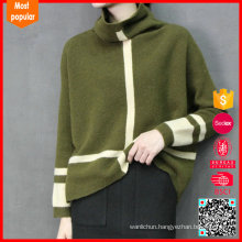 High neck fashion knitted 100% cashmere sweater womens