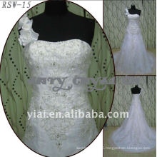 RSW-15 2011 Hot Sell New Design Ladies Fashionable Elegant Customized Beautiful Silver Embroidery Stereo Flower Bridal Dress