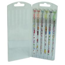 Ensemble de stylo à encre gel de point de diamant de couleur baril 6 PCS / boîte, stylo encre gel surligneur