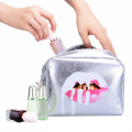 2018 Fashion Silver Leather Cosmetic Bag for Storage