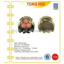 Equipo de mando Metal Moneda conmemorativa, moneda de recuerdo con oro antiguo plateado